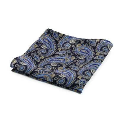 Picture of Black Paisley Wool Handkerchief