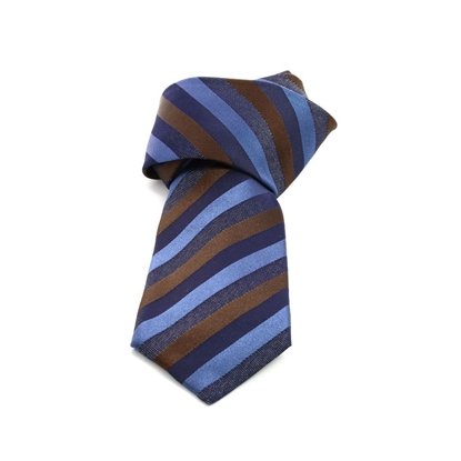 Picture of Blue/Brown Regimental Silk Tie - 8 cm. wide