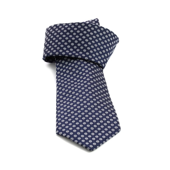 Picture of Blue Micro Patterned Jacquard Silk Tie - 8 cm. wide