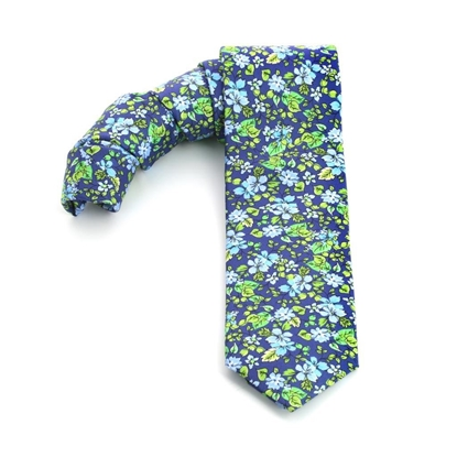 Picture of Blue/Light Blue/Green Flowers Silk Tie - 7 cm. wide