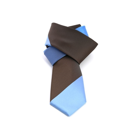 Picture of Brown/Light Blue Striped Silk Tie - 7 cm. wide