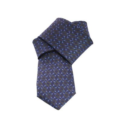 Picture of Dark Blue Chains Patterned Silk Tie - 7 cm. wide