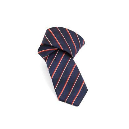 Picture of Dark Blue Regimental Jacquard Silk Tie - 7 cm. wide