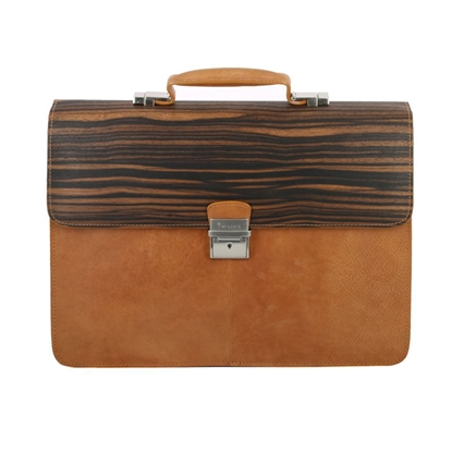 Picture of Ebony Wood & Honey Leather Briefcase - One Compartment
