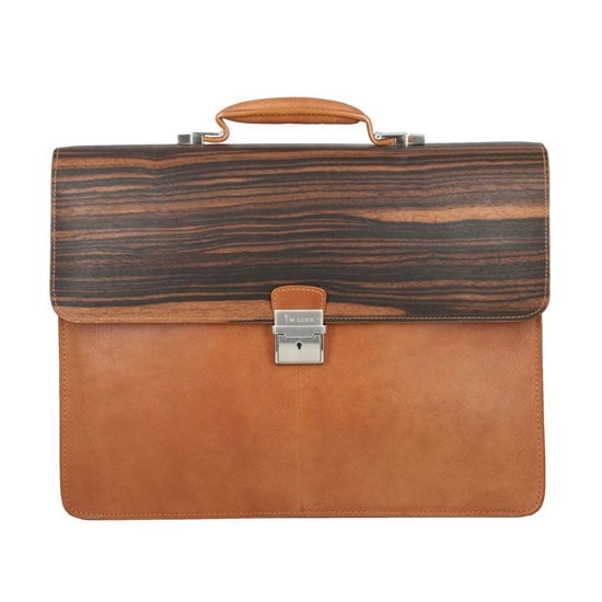 Picture of Ebony Wood & Honey Leather Briefcase - Three Compartments