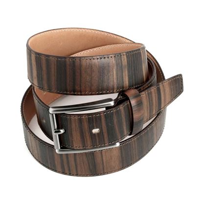 Picture of Ebony Wood & Leather Belt - 3,5 cm. wide
