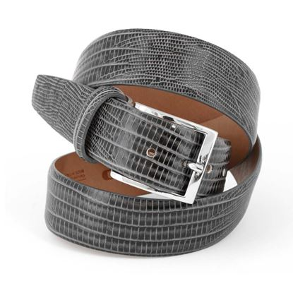Picture of Grey Lizard Print Calf Leather Belt - 3,5 cm. wide
