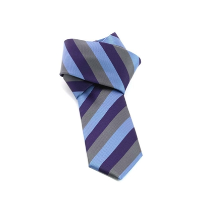 Picture of Light Blue/Violet Regimental Silk Tie - 7 cm. wide