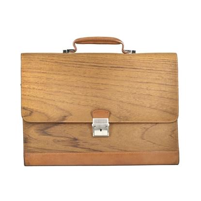 Picture of Teak Wood & Honey Leather Portfolio