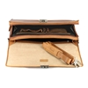 Picture of Teak Wood & Honey Leather Briefcase - One Compartment