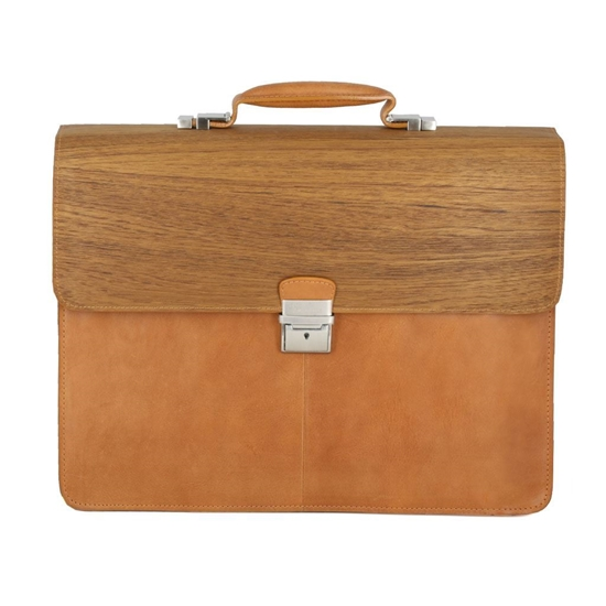 Picture of Teak Wood & Honey Leather Briefcase - Three Compartments