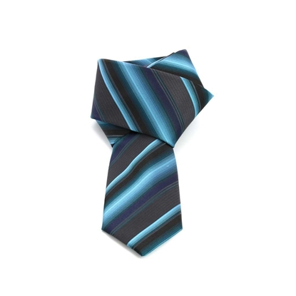 Picture of Turquoise/Grey Regimental Silk Tie - 7 cm. wide