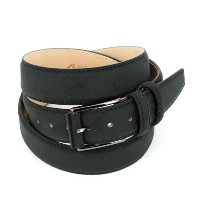 Picture of Black Alcantara Belt - Double Loops - 3,5 cm. wide
