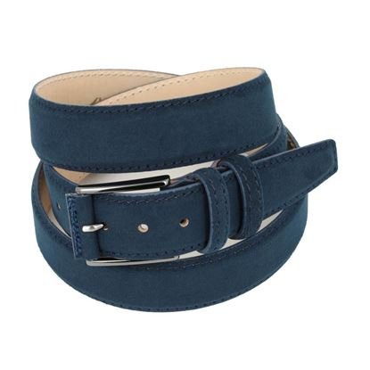 Picture of Dark Blue Alcantara Belt - Double Loops - 3,5 cm. wide