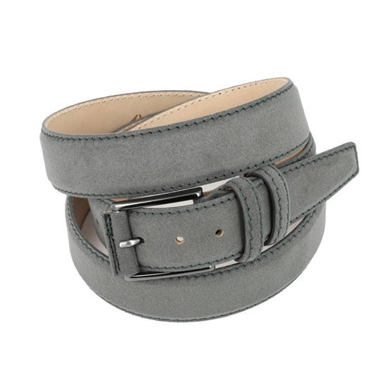 Picture of Grey Alcantara Belt - Double Loops - 3,5 cm. wide