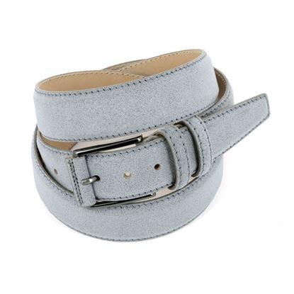 Picture of Pearl Grey Alcantara Belt - Double Loops - 3,5 cm. wide