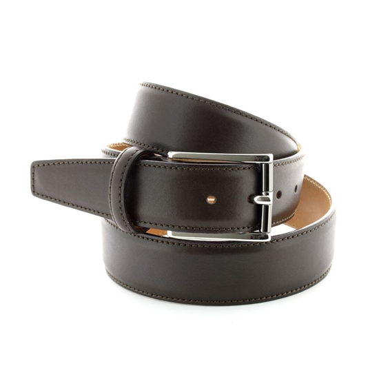 Picture of Dark Brown Nappa Soft Calf Leather Belt - 3,5 cm. wide