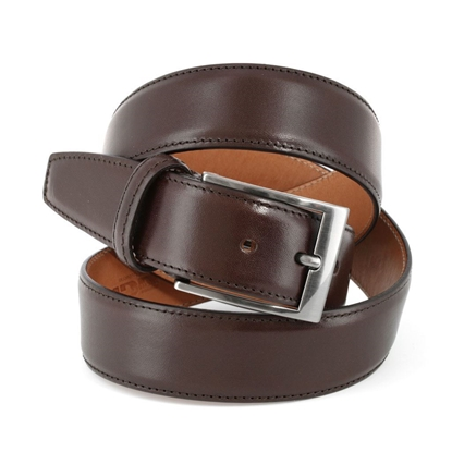 Picture of Dark Brown Smooth Calf Leather Belt - 3,5 cm. wide