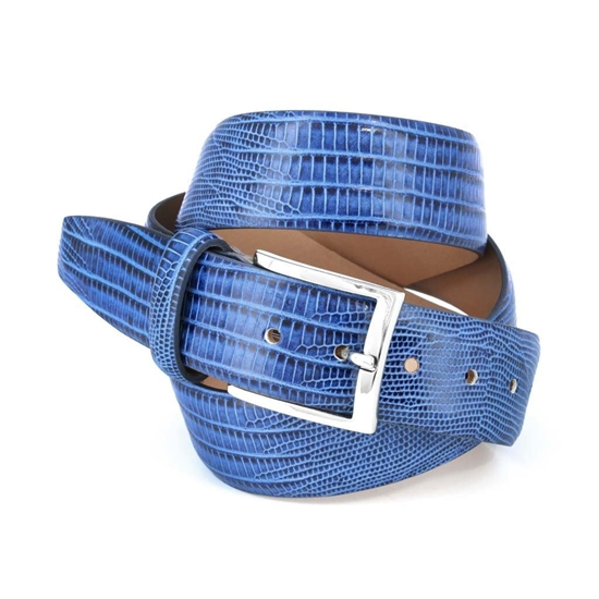 Picture of Blue Lizard Print Calf Leather Belt - 3,5 cm. wide