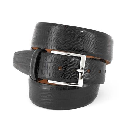 Picture of Black Lizard Print Calf Leather Belt - 3,5 cm. wide