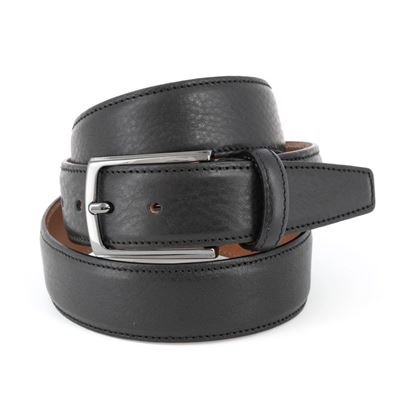 Picture of Black Hammered Calf Leather Belt - 3,5 cm. wide