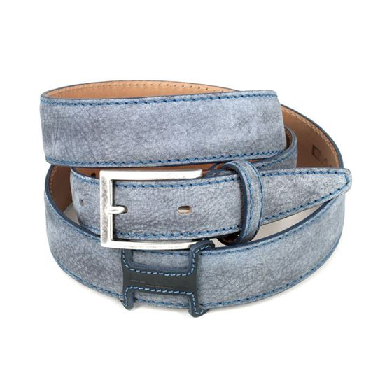 Picture of Aviation Blue Vintage Shaped Calf Leather Belt