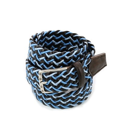 Picture of Dark Brown & Blue Braided Belt - 3,5 cm. wide