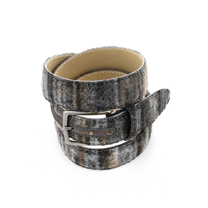 Picture of Shade of Grey Patterned Wool Fabric Belt - 3,5 cm. wide