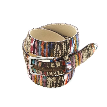 Picture of Multicolor Patterned Wool Fabric Belt - 3,5 cm. wide