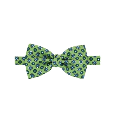 Picture of Green Geometric Pattern Silk Bow Tie