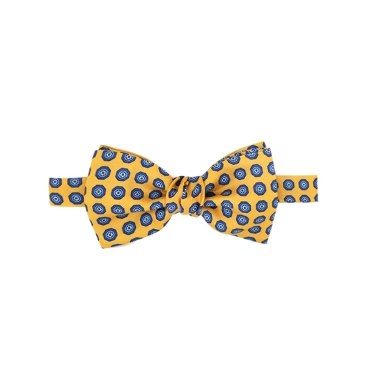 Picture of Yellow Patterned Silk Bow Tie