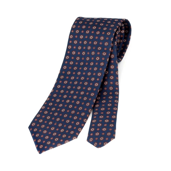 Picture of Classic Geometric Patterned Silk Tie - 8 cm. wide