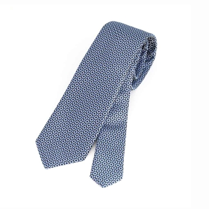 Picture of Micro Geometric Pattern Silk Tie - 7 cm. wide