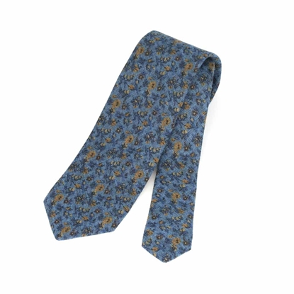 Picture of Flowers Pattern Wool Tie - 7 cm. wide