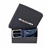Picture of Blue Alveolar Printed Calf Leather Belt - 3,5 cm. wide