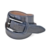 Picture of Blue Fretworked Tip Brushed Calf Leather Belt - 3,5 cm. wide