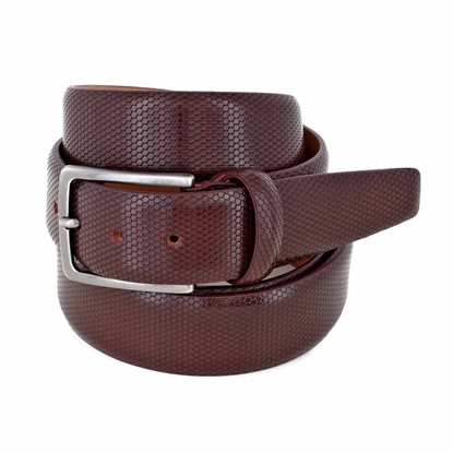 Picture of Burgundy Alveolar Printed Calf Leather Belt - 3,5 cm. wide