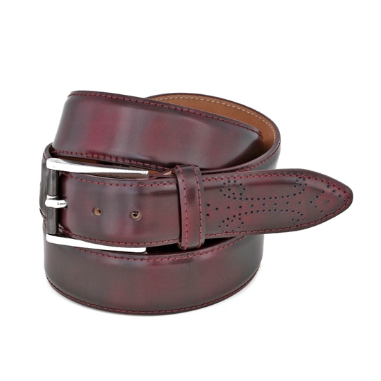Picture of Burgundy Fretworked Tip Brushed Calf Leather Belt - 3,5 cm. wide