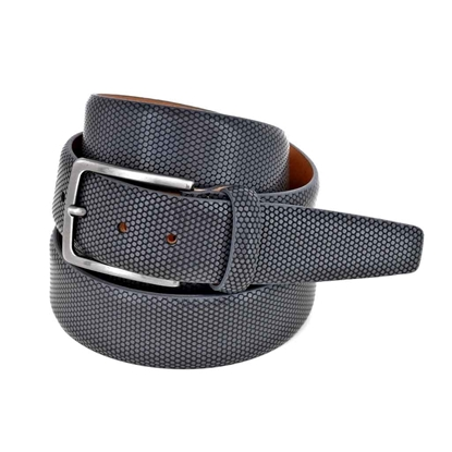 Picture of Grey Aveolar Printed Calf Leather Belt - 3,5 cm. wide