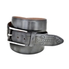 Picture of Grey Fretworked Tip Brushed Calf Leather Belt - 3,5 cm. wide