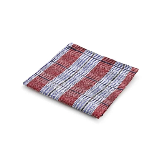 Picture of Red & Blue Checked Silk Handkerchief