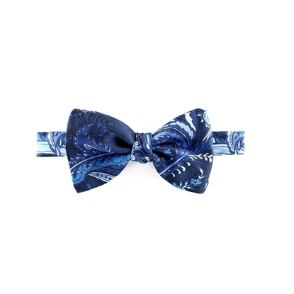 Picture of Blue Paisley Patterned Silk Bow Tie