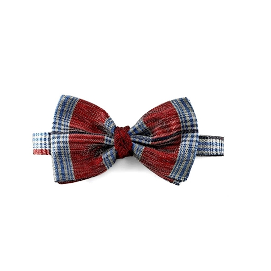 Picture of Red Checked Patterned Silk Bow Tie