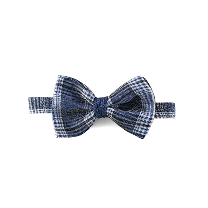 Picture of Blue Checked Silk Bow Tie