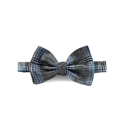 Picture of Grey Checked Patterned Silk Bow Tie
