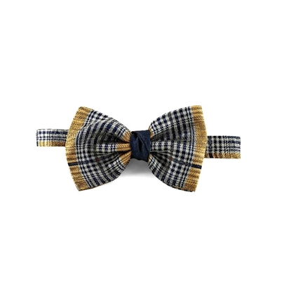 Picture of Yellow Checked Patterned Silk Bow Tie