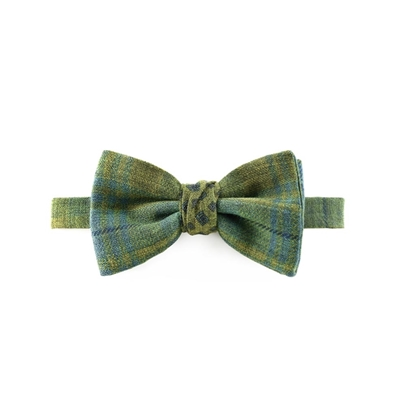 Picture of Green Checked Pattern Wool Bow Tie