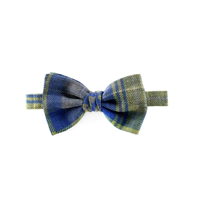 Picture of Blue & Green Checked Wool Bow Tie