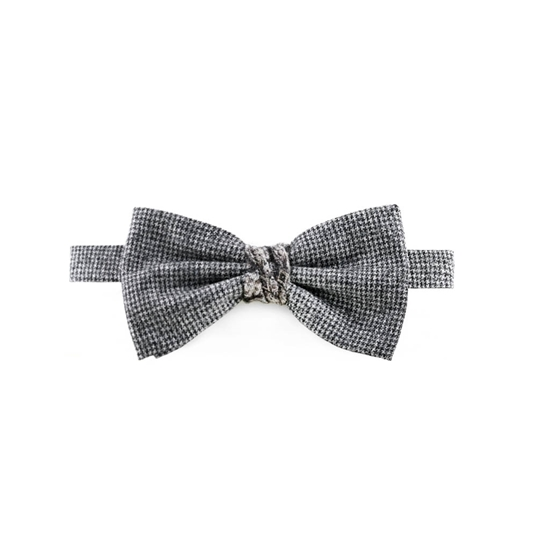 Picture of Grey Little Checked Patterned Wool Bow Tie
