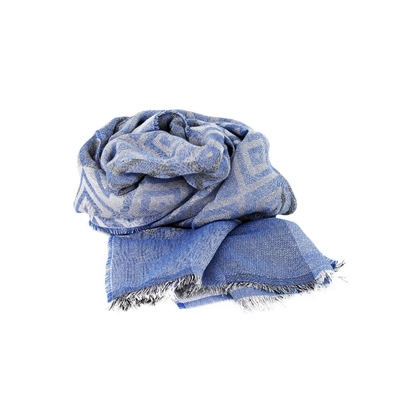 Picture of Blue & Grey Lozenge Pattern Lightweight Scarf